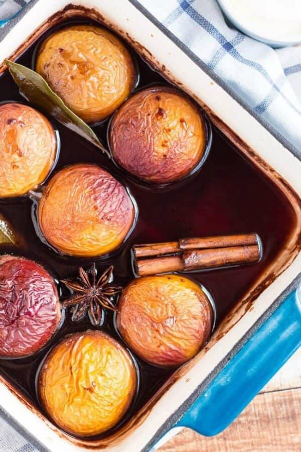 baked nectarines in red wine meal plan july week 2
