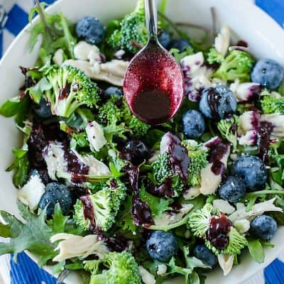 healthy broccoli salad with blueberry vinaigrette