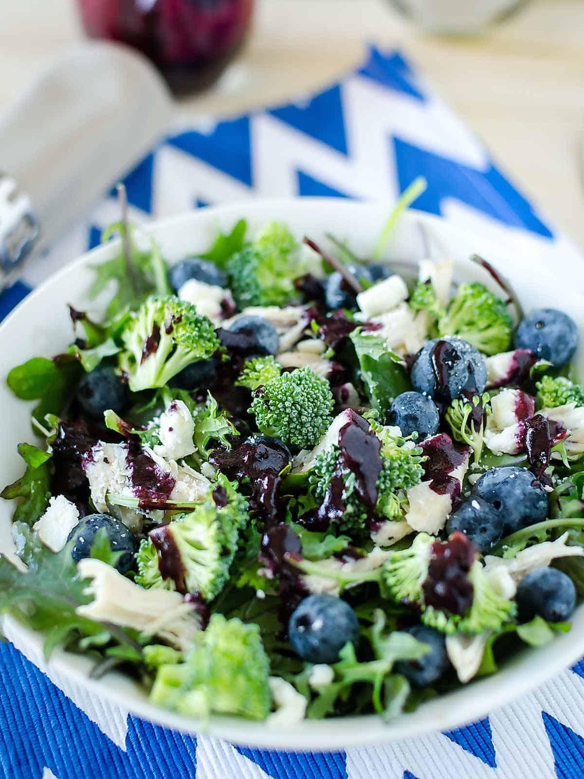 easy broccoli salad recipe with blueberry vinaigrette