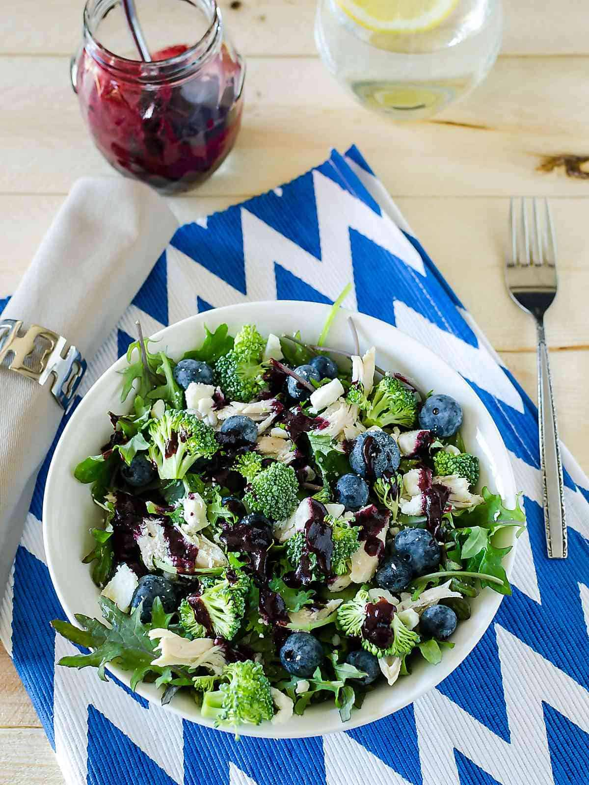 baby kale broccoli salad with blueberries