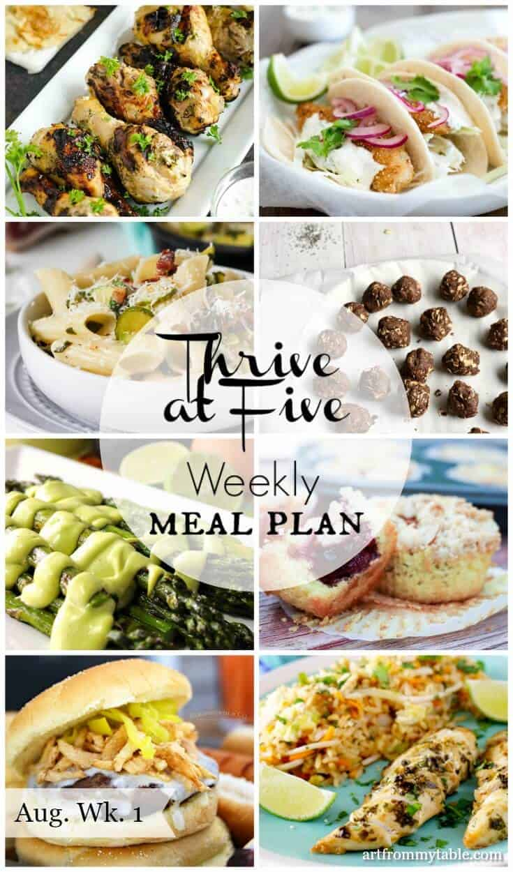 thrive at five weekly meal plan august week 1