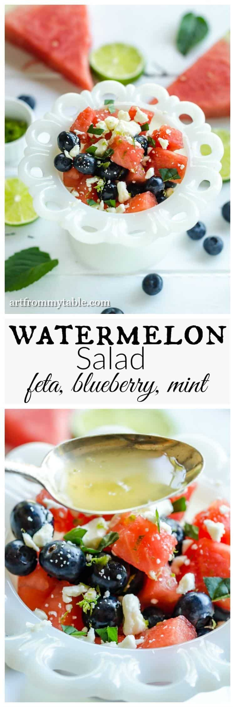Need something refreshing and healthy for summer? Make this today! Watermelon salad with feta is the perfect alfresco recipe! This will take you 5 minutes to whip up. Bring it to all the bbq's or just enjoy it at home. #watermelonsalad #watermelonwithfeta #4thofJuly #redwhiteandblue #fourthofjulyrecipe #Summerrecipes via @artfrommytable