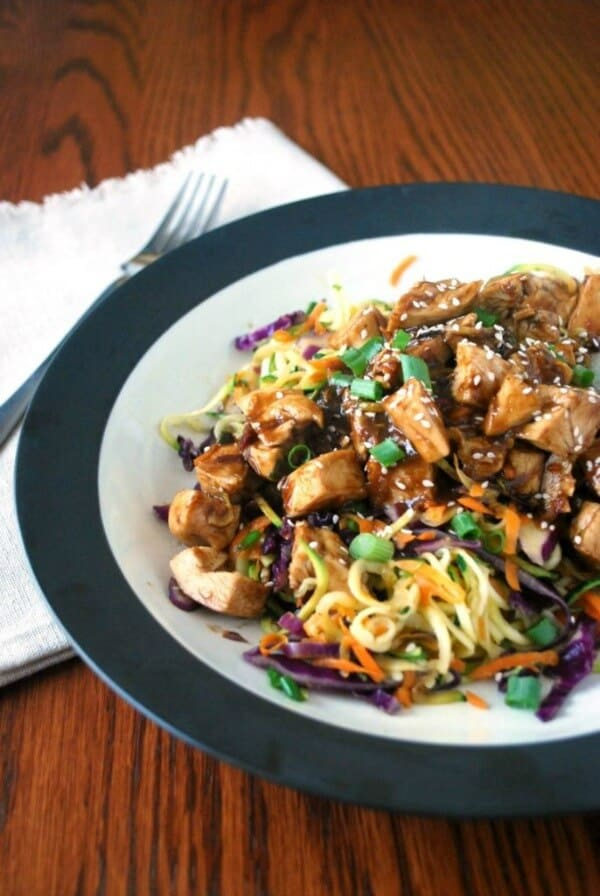thai chicken zoodle bowl weeknight meal plan