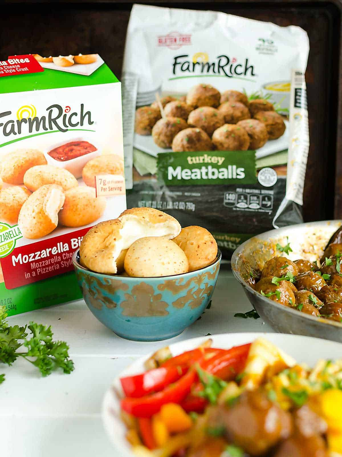 Farm Rich meatballs and mozzarella bites for quick dinner solutions