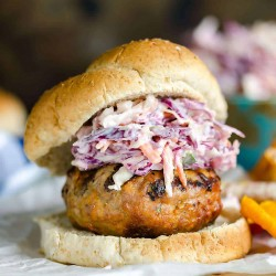 Asian Style Turkey burger topped with slaw