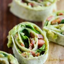 Avocado BLT wrap sliced into pinwheels
