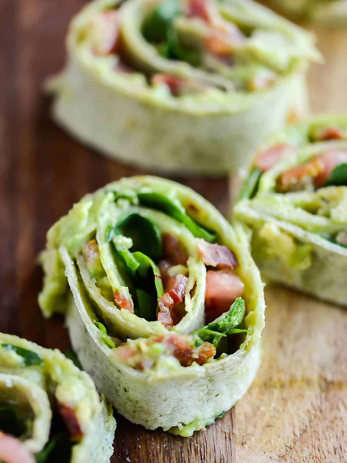Avocado BLT wrap sliced into pinwheels