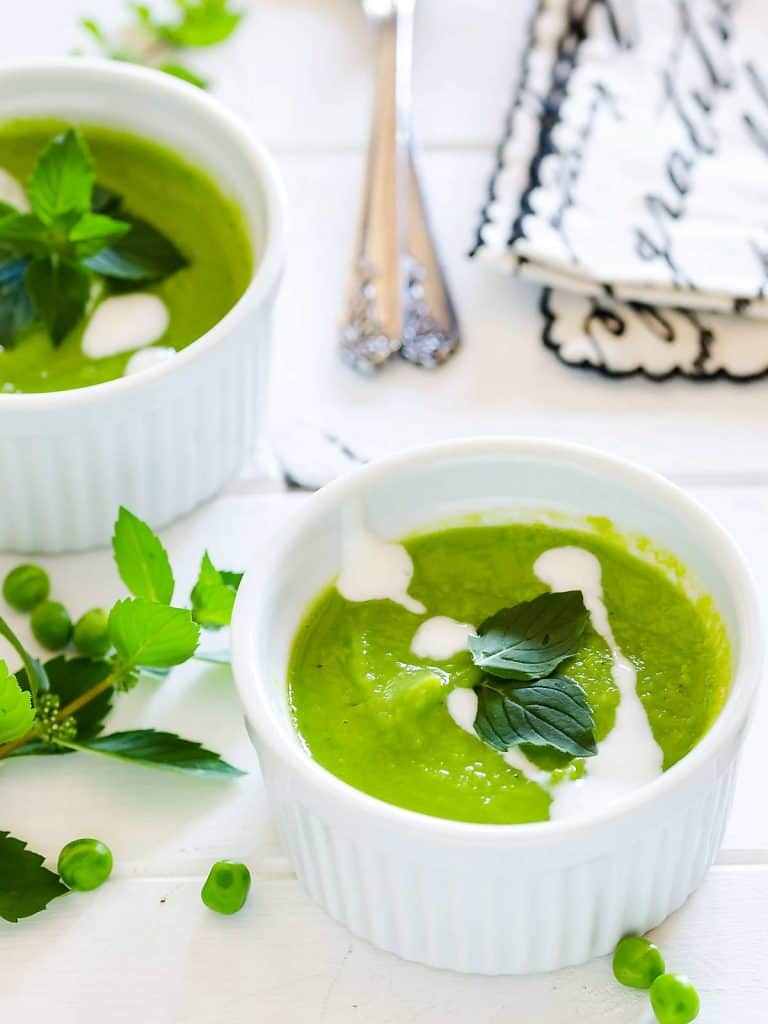 chilled pea mint soup
