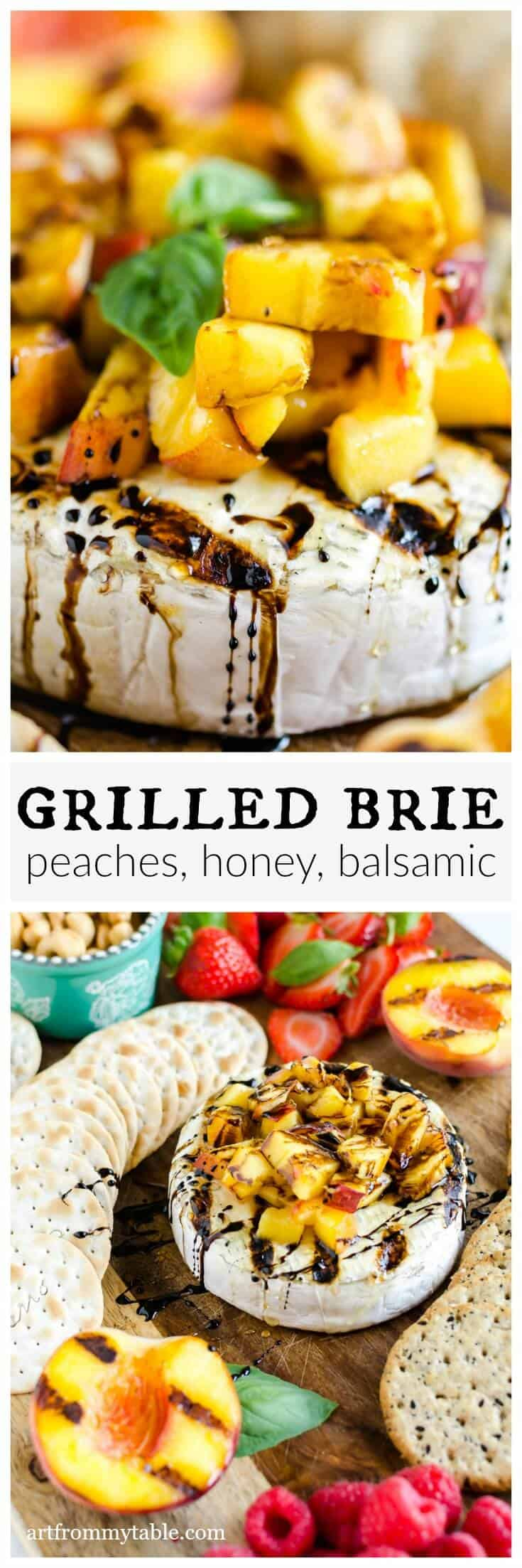 "You need to try this!!! This appetizer brings a whole new meaning to the term ""grilled cheese"". Grilled Brie is warm, oozy, with a hint of that smoky grill flavor. Read on to learn how to grill brie. #grilledcheese #grilling #cheese #appetizer #peaches #grilledbriewheel via @artfrommytable"