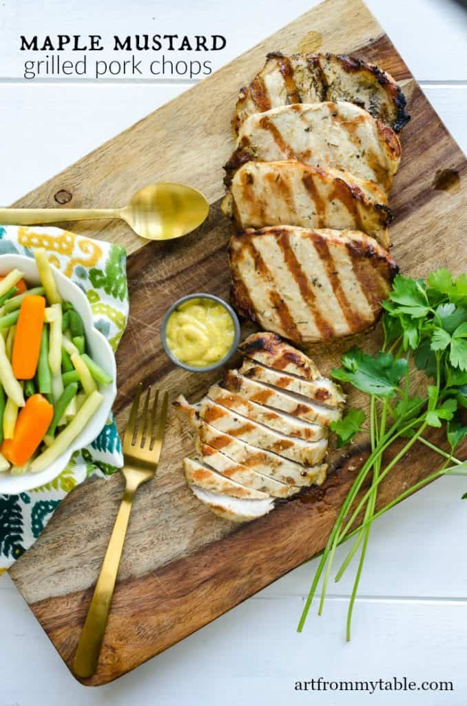 grilled pork chops marinated in maple mustard sauce. Served with vegetable blend of beans and carrots.