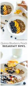 a row of blueberries, peaches, and red quinoa with milk. close up of the spoon with the food on it