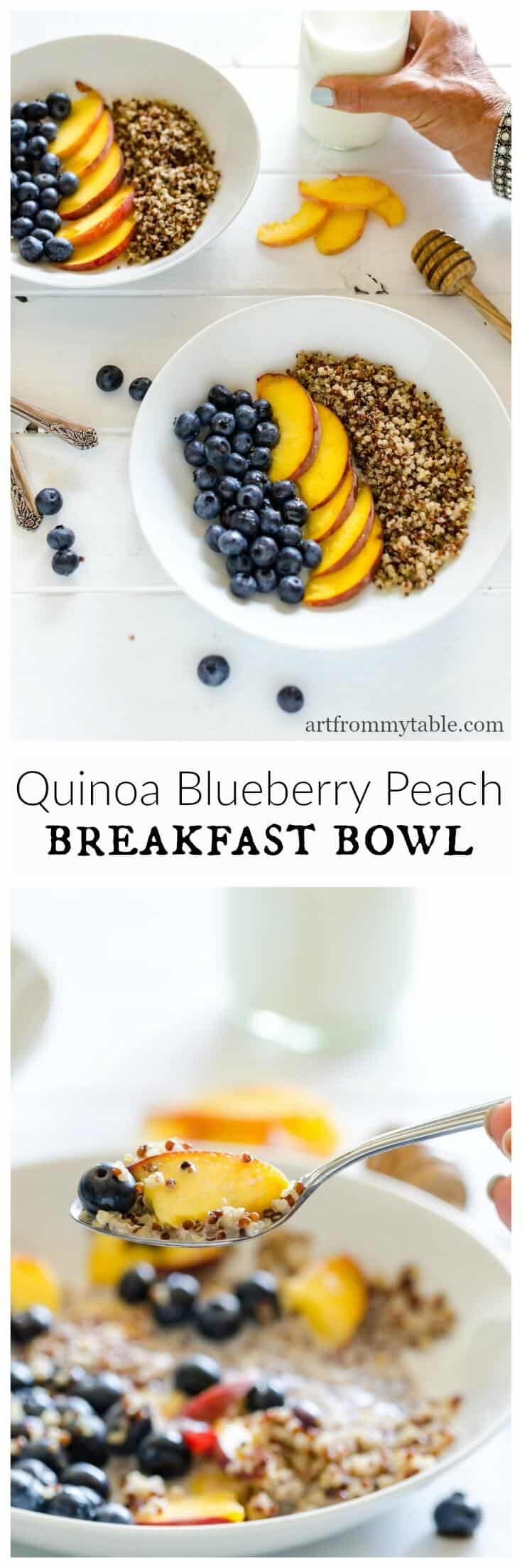 Change up your breakfast routine for summer! This is the perfect time to savor blueberries and peaches and all the summer fruit! Quinoa and fruit breakfast bowls are a very simple yet energizing and tasty way to start your day. #breakfast #summer #quinoa #freshblueberries #freshpeaches #easyrecipe via @artfrommytable
