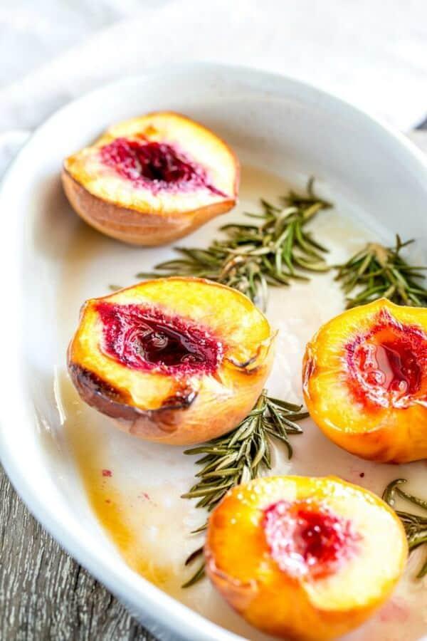 roasted peach halves with rosemary