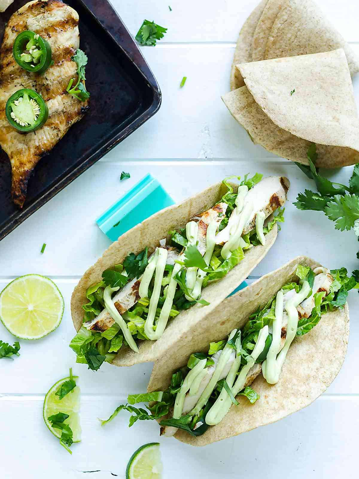 grilled garlic lime chicken breasts tacos with whole wheat tortillas