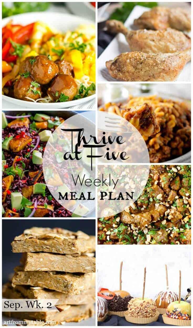 thrive at five weekly meal plan september week 2