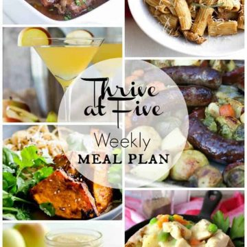 picture collage of a meal plan october week 1 - beef stew, pumpkin pasta, sheet pan brats and veggies, roasted pumpkin miso, chicken pot pie potatoes, sugarless applesauce, toffee apple martini