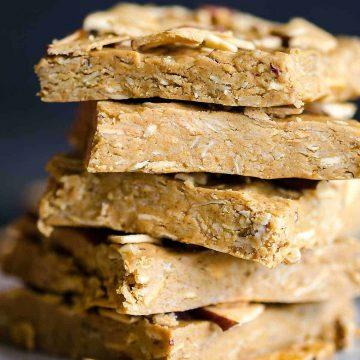 no bake oatmeal energy bars stacked