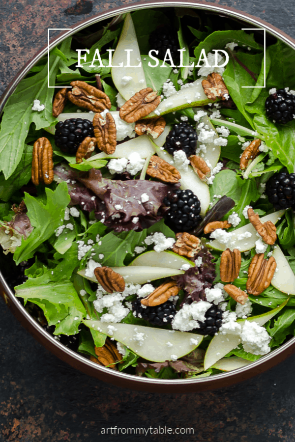 This easy Fall Salad Recipe is the perfect accompaniment to all your Fall dishes. Topped with fresh pears and blackberries, it's so easy to put together with just a few ingredients! #artfrommytable #salad #fallsalads #pears #blackberries #fallfood #blackberries #easy via @artfrommytable