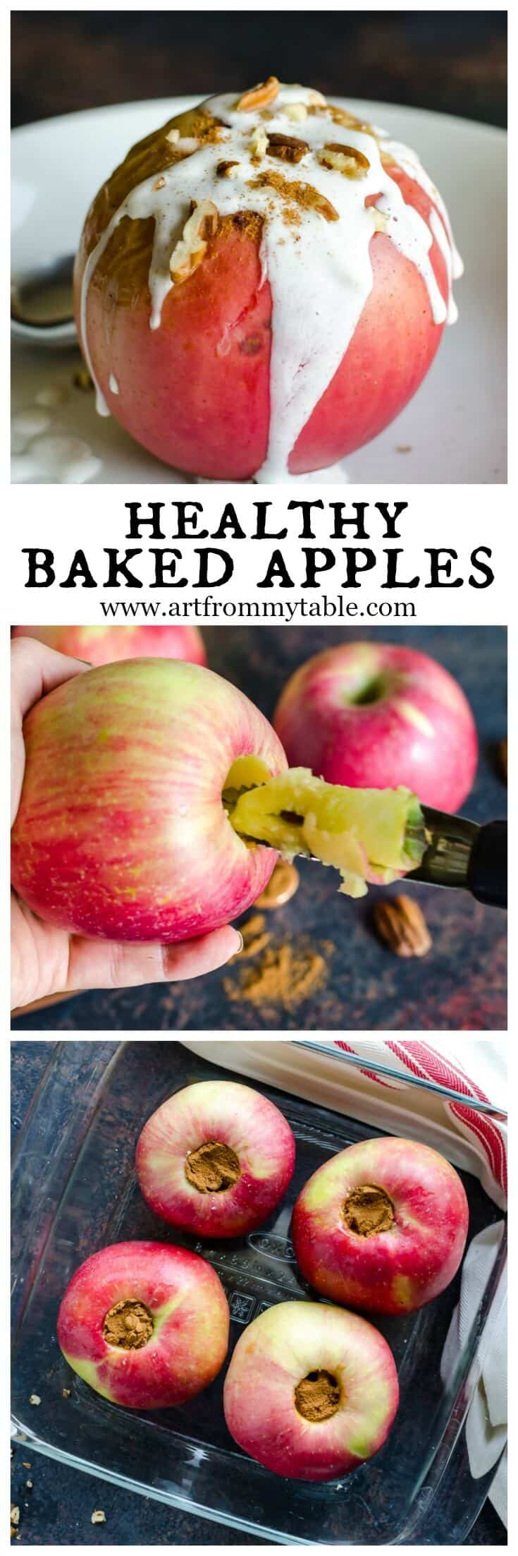 """Healthy"" never tasted to good! These Healthy Baked Apples are the perfect recipe for Fall. They are loaded with goodness and NO SUGAR! The topping gives you a little boost of protein in your dessert! #bakedapples #apples #fallrecipes #nosugar #healthydessert"