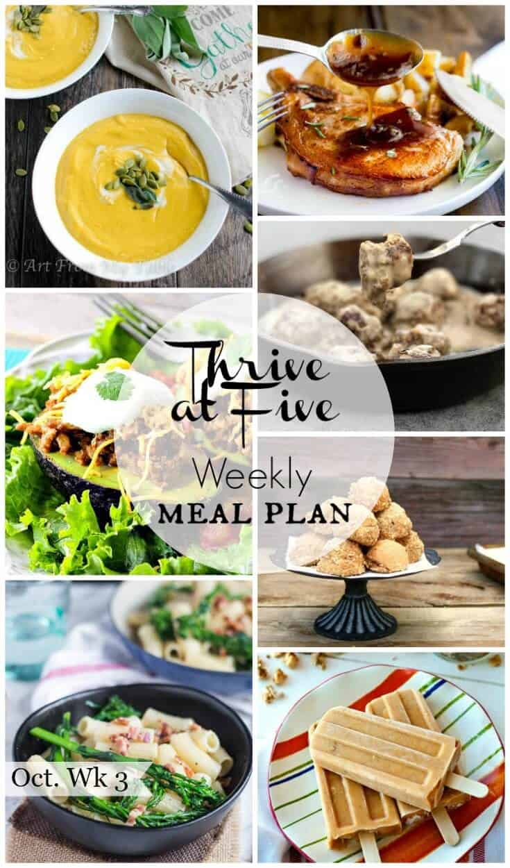 Stop surviving and start thriving through the dinnertime dilemma. Here's your weekly meal plan  October week 3