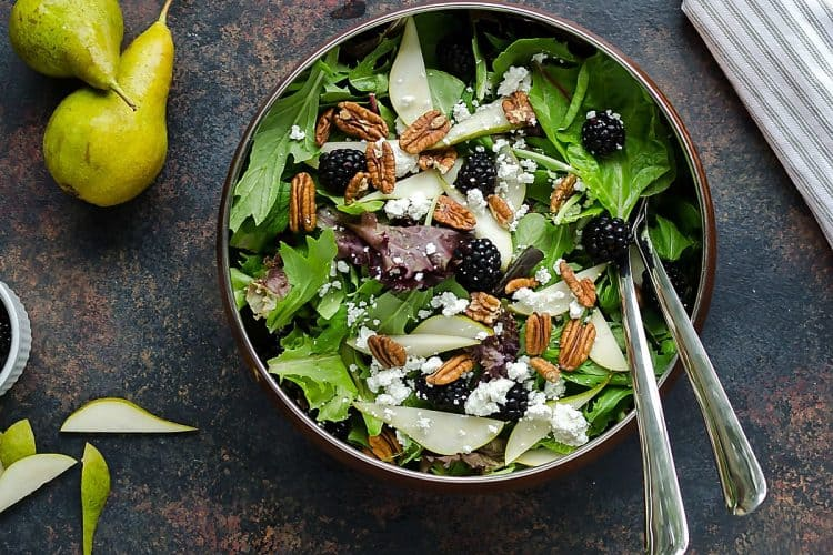 Fall Salad with Fresh Pears & Blackberries