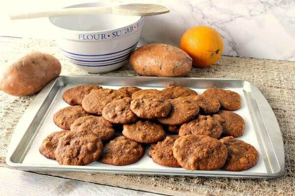 tray full of sweet potato cookies perfect fall dessert for your meal plan October week 2