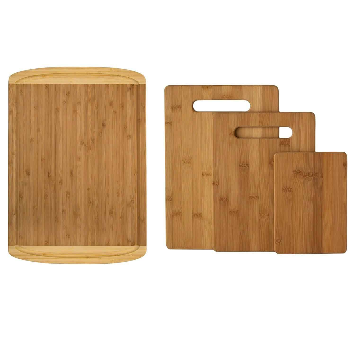 4 bamboo cutting boards, each different sizes