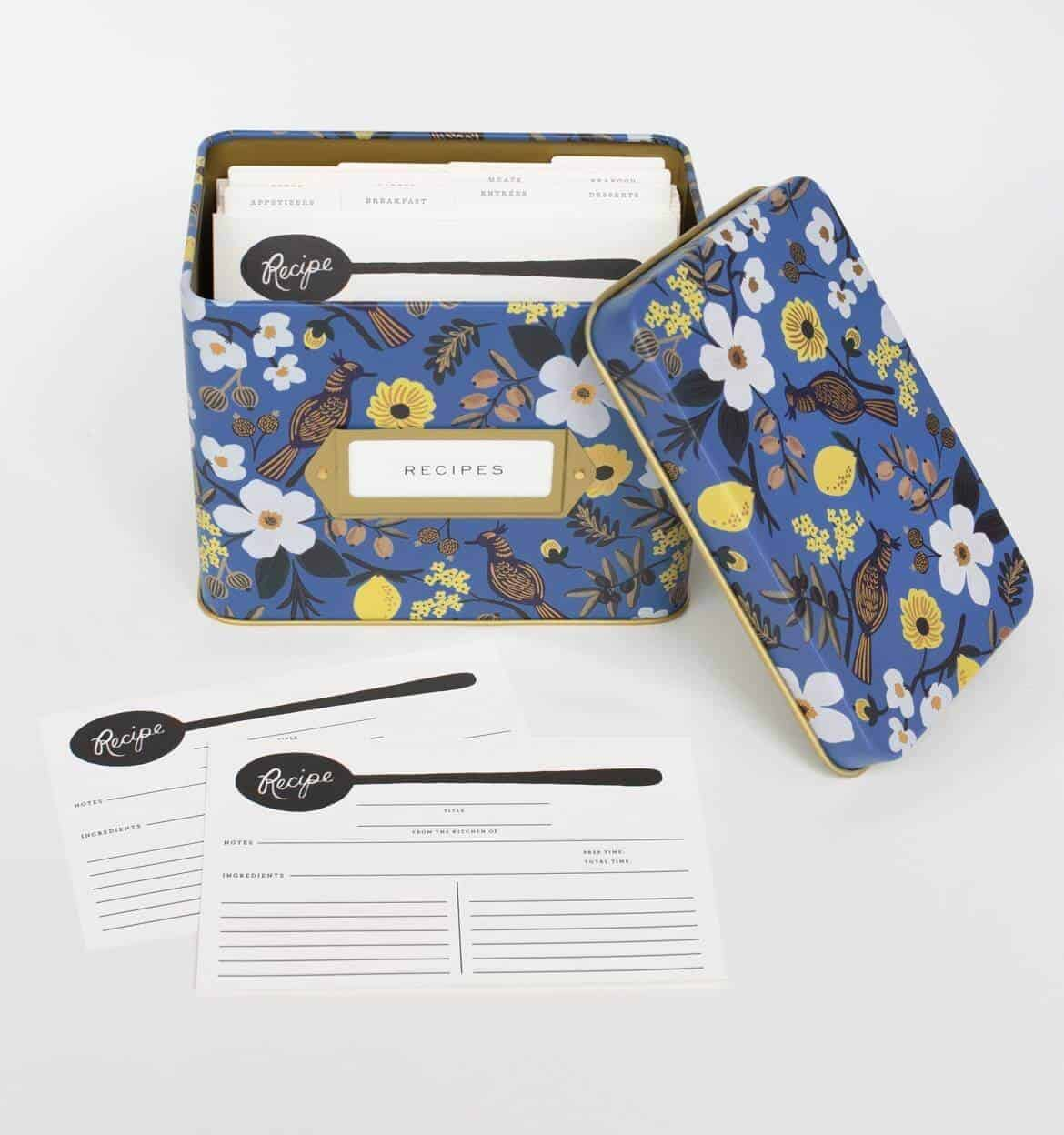 blue and gold floral recipe card box