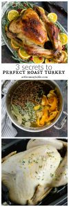 This will be the Best Roast Turkey Recipe you ever eat! Crisp and golden on the outside, infused with citrus butter and herbs, perfectly juicy and moist on the inside. Here I'm sharing my 3 secrets to perfect roast turkey. #Turkey #Thanksgiving #
