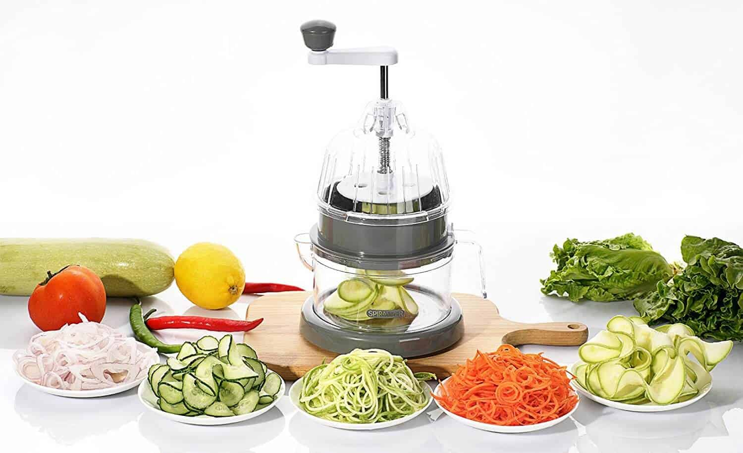 spiralizer with sliced cucumbers, zoodles, apples, great kitchen gadgets for the home cook
