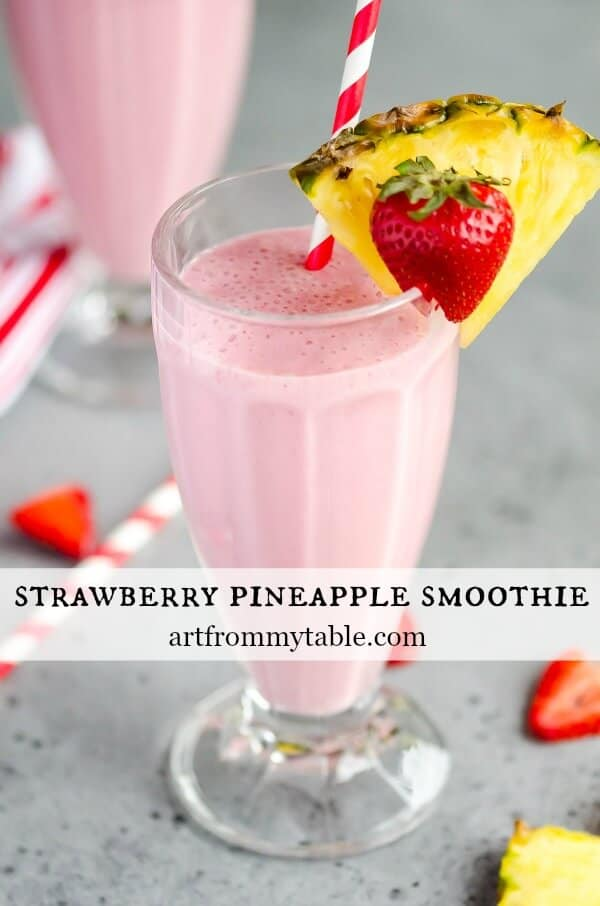 A Strawberry Pineapple Smoothie is the perfect way to start your day. Can you guess what veggies we snuck in? Thick, creamy, and delightful this easy recipe packs a punch of protein too! #smoothie #frozenfruit #strawberries #pineapple #sneakyveggies #breakfast #backtoschool  via @artfrommytable
