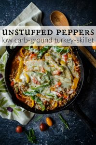 Unstuffed peppers made with ground turkey and cauliflower rice. It's so much easier to eat than stuffed peppers! This healthy recipe is low carb and made in a skillet. Yay for one pan dinners!