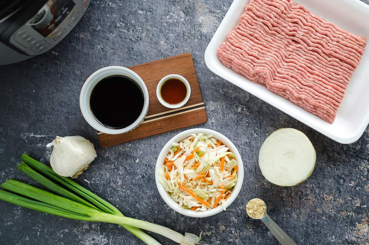 ingredients for egg roll in a bowl-- ground turkey, cole slaw, ginger, green onions, onion, chicken broth, sesame oil, garlic