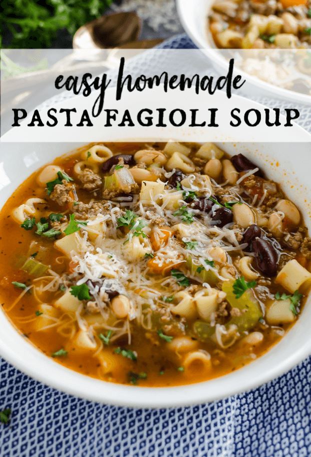 Looking for a bowl of hearty soup? Look no further! This Pasta Fagioli Soup is bursting with flavor! Made with ground beef, veggies, pasta and beans, it's filling and delicious! It's easy to make and includes Instant pot, stove top, and slow cooker instructions! #artfrommytable #pastafagioli #soup via @artfrommytable