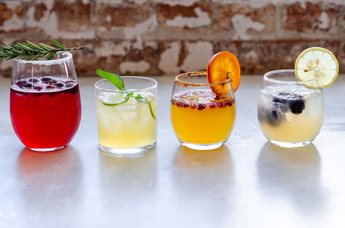 4 different mocktails in a row