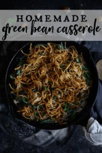 homemade green bean casserole in a cast iron skillet