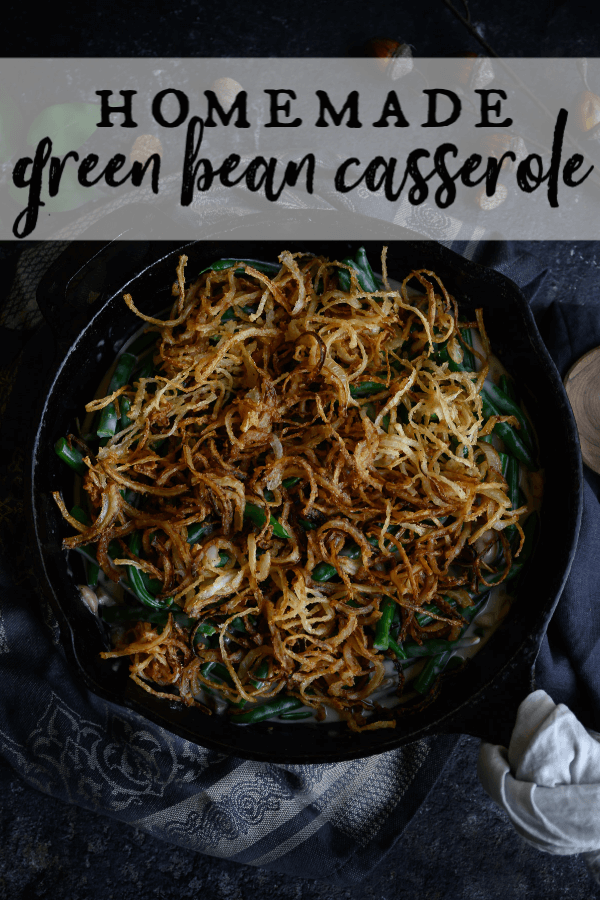 This Green Bean Casserole is made completely from scratch and is the healthiest and tastiest one you'll ever eat! Fresh green beans, fresh mushrooms, even the crispy onions are homemade. The sauce is creamy and delectable. There are no cans involved in this recipe. The result is absolutely delicious! #greenbeancasserole #thanksgivingsides #homemade via @artfrommytable