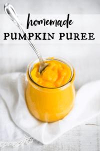 fresh homemade pumpkin puree in a jar