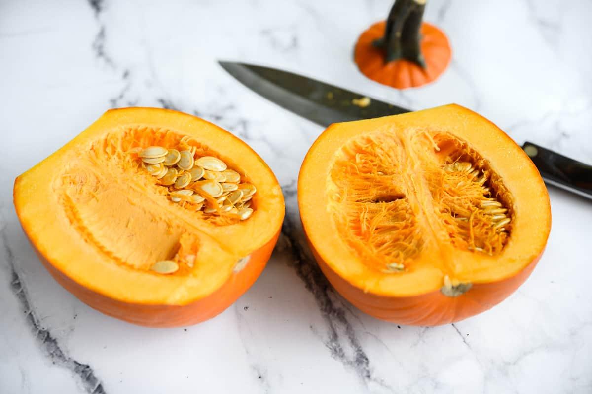 pie pumpkin cut in half
