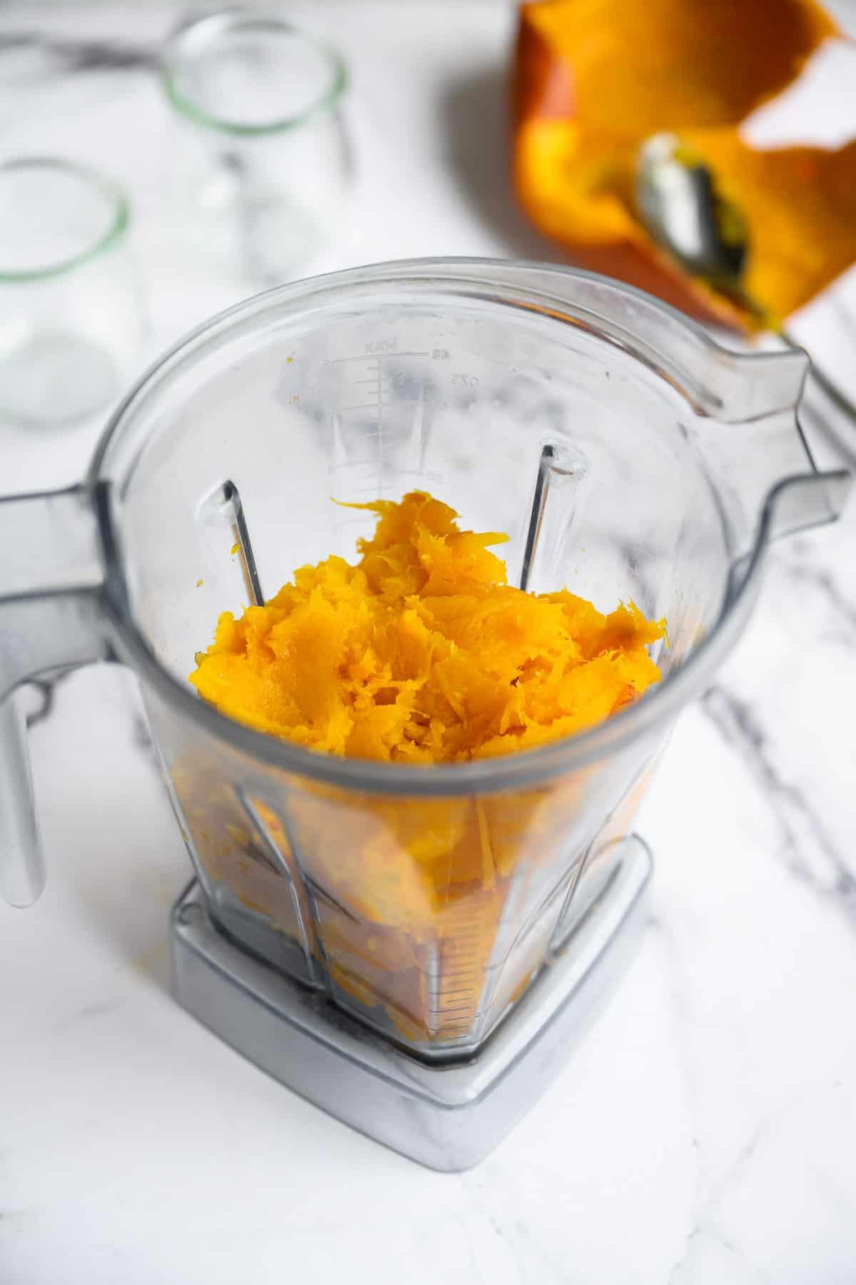 fresh roasted pumpkin in a blender