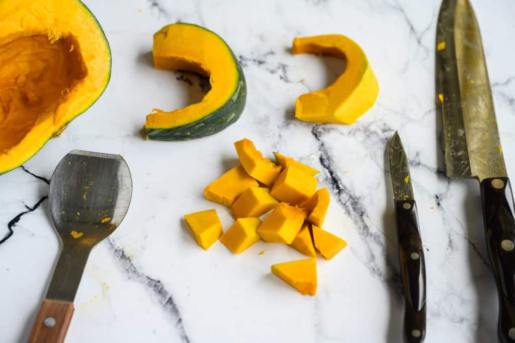 slices and cut pieces of buttercup squash