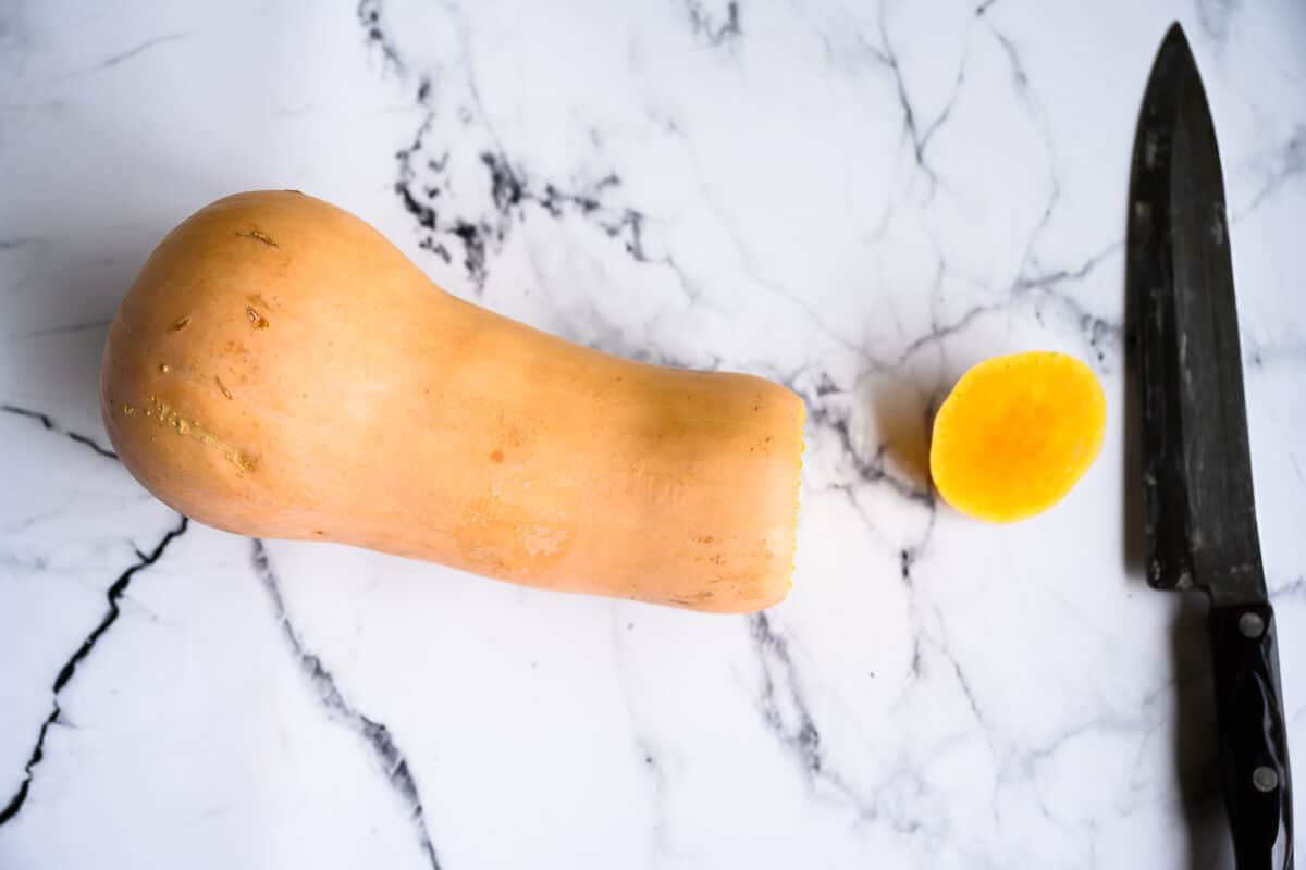 butternut squash with the stem cut off
