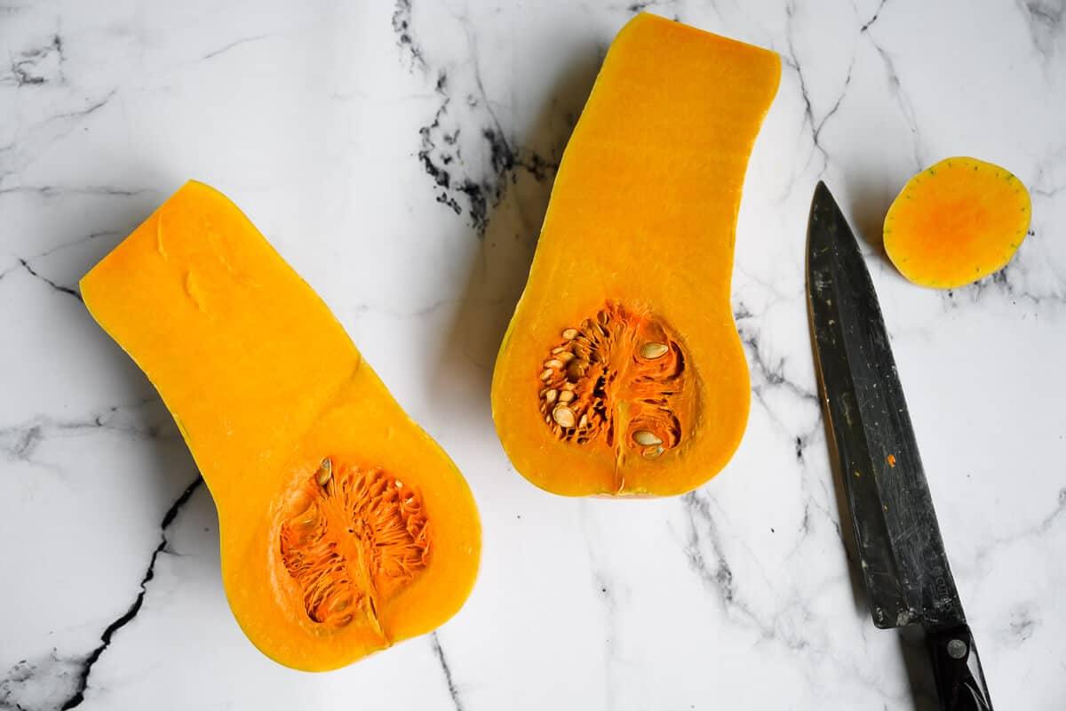 butternut squash cut in half lengthwise