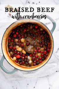 Braised Beef with cranberries and pearl onions in a dutch oven