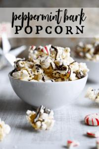 bowl of peppermint bark popcorn