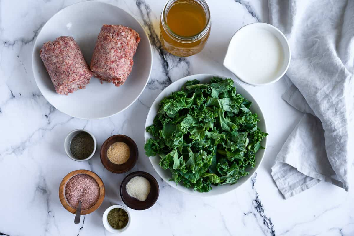 pork sausage, kale, chicken broth, heavy cream and seasonings