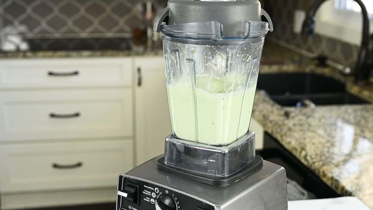 blended homemade shamrock shake in blender