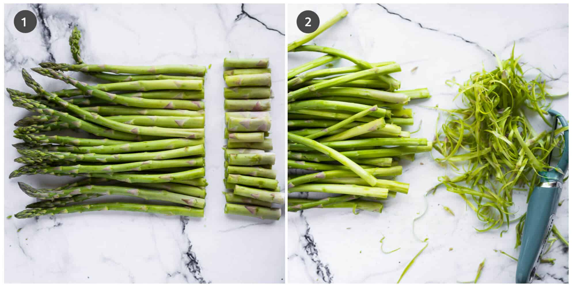 collage of 2 photos showing how to prepare asparagus for cookimg