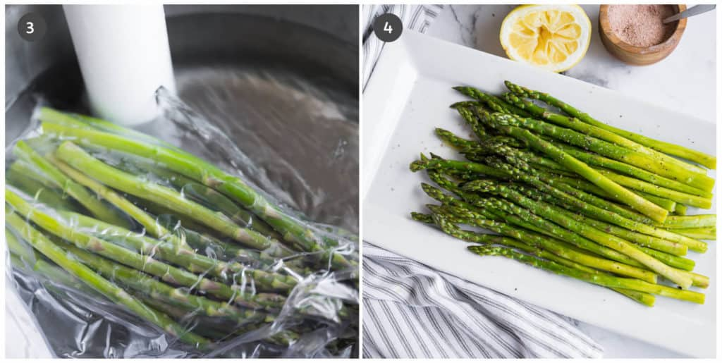 asparagus in sous vide water bath
