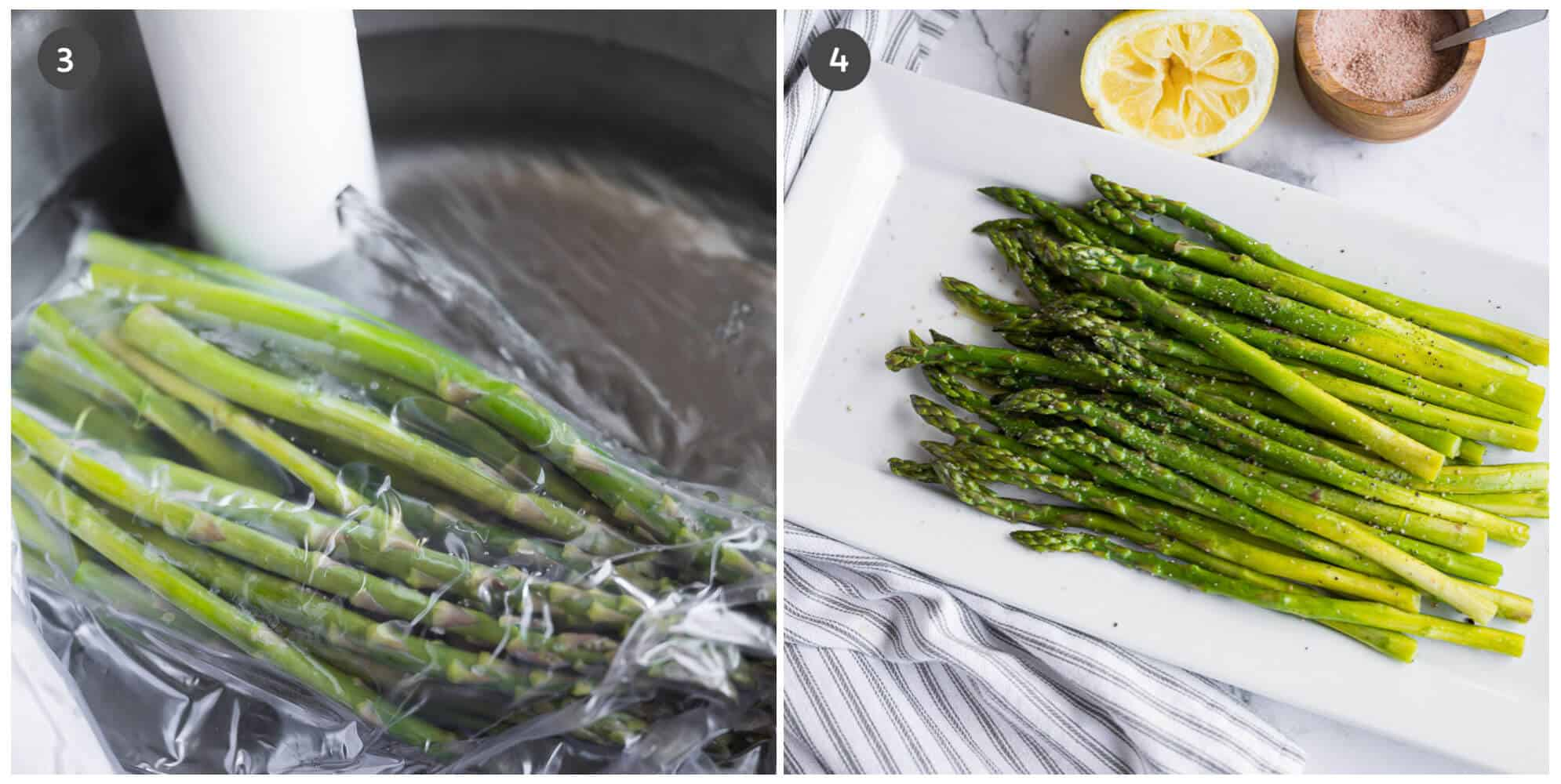 collage of 2 photos showing asparagus during and after cooking with a sous vide wand